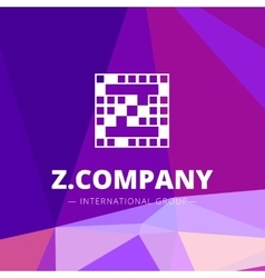 Pixel style geometric Z letter logo on low vector
