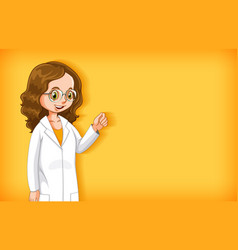 Plain background with female doctor in white gown vector