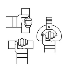 Proper hand position in public transport line sign vector
