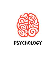 psychology brain logo red decorative brain vector image
