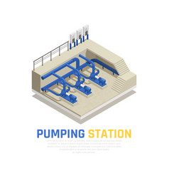Pumping station concept vector