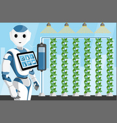 Robot with tablet computer in a greenhouse vector
