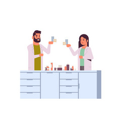 Scientific researchers couple holding drugs vector