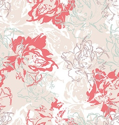 Seamless floral pattern of white pastel roses vector
