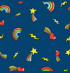seamless pattern with doodle comets lightnings vector image