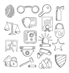 Security and protection icons in sketch style vector