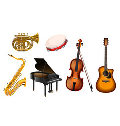 Set musical instruments on a white vector