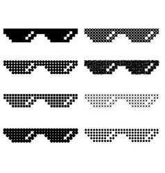 Set of different pixel glasses vector