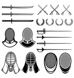 Set of fencing design elements fencing swords vector
