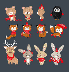 set of had drawn forest animals vector image