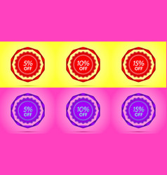 set of red and purple sale badges vector image