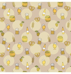 Simple beer seamless pattern Doodle style vector
