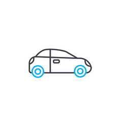 small car thin line stroke icon small car vector image