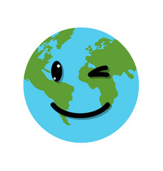 smile earth globe character vector image