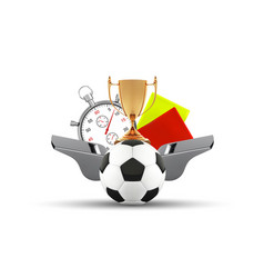 soccer ball whistle with a stopwatch yellow and vector image