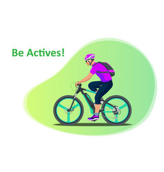 Sport athlete cyclists professional road bicycle vector