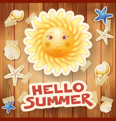 Summer background with big sun and text on wood vector