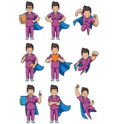 super nurse asian male set vector image