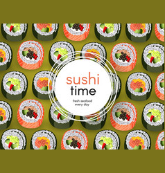 Sushi banner with fresh rolls pattern on green vector
