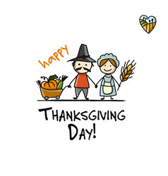 thanksgiving day fermers with harvest sketch for vector image