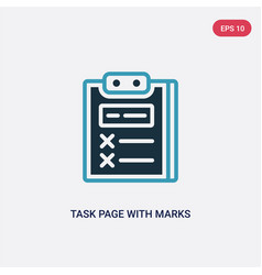 Two color task page with marks icon from vector