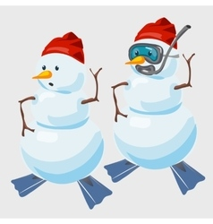Two snowmen in red cap and with fins diver vector