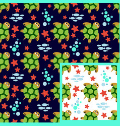 underwater world concept two seamless patterns vector image