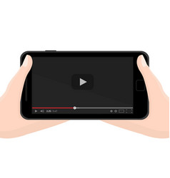 Watching video on mobile phone concept flat black vector