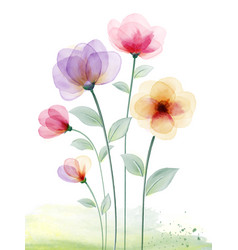 Watercolor hand painted with colourful floral vector