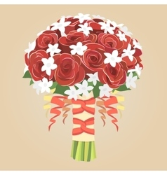 Wedding bouquet of red roses vector image