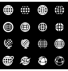 White globe icon set vector