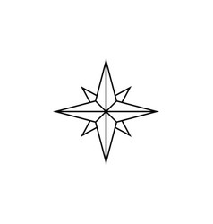 Wind rose line icon navigation and compass vector