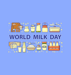world milk day card set of dairy icons vector image