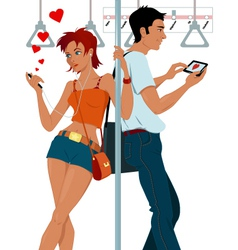 Young couple sexting on a subway vector