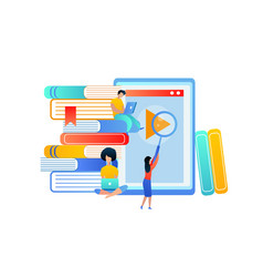 young people gain knowledge from books and tablet vector image