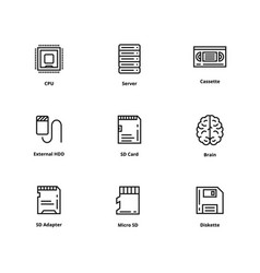 9 memory line icons vector image vector image
