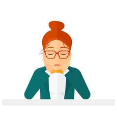 Anxious woman clutching her head vector image vector image