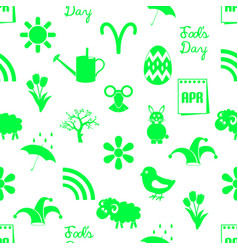 april month theme set of green icons seamless vector image vector image