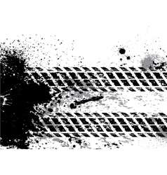 Grunge tire track background with blots vector image vector image