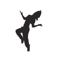Hip hop dancer silhouette vector image