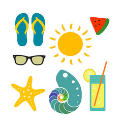 set with beach elements vector image vector image