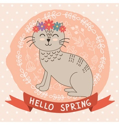 Hello spring card with a cute cat vector image vector image