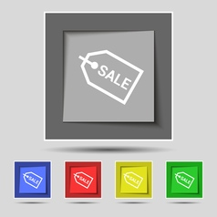 Sale icon sign on original five colored buttons vector image