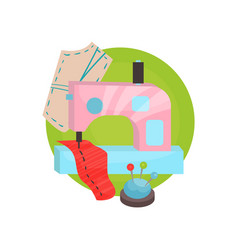 sewing icon tailor shop equipment cartoon vector image vector image