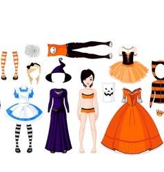 halloween paper doll with different costumes vector image