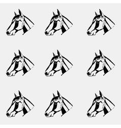 Pattern monochrome black and white Horse head hand vector image vector image