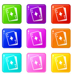 playing card icons 9 set vector image