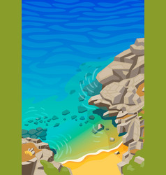 sea lagoon with rocks and a small beach vector image