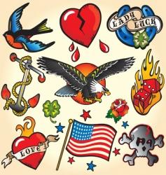 set of retro tattoos vector image