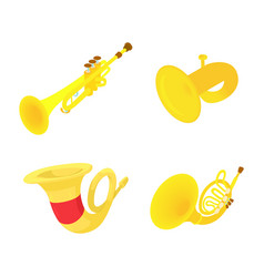trumpet icon set cartoon style vector image
